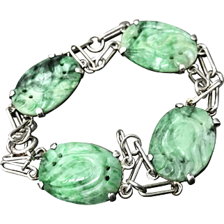 Beautiful Vintage Chinese Hand Carved Green Jade/Jadeite Sterling Silver Bracelet