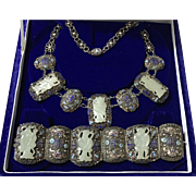 Antique Chinese Enamelled Sterling Silver Filigree Hand Carved Hetian White Jade Figure Necklace and Bracelet Set 1850's
