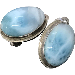 Beautiful Large Vintage Natural Larimar Blue Sterling Silver Clip Earrings