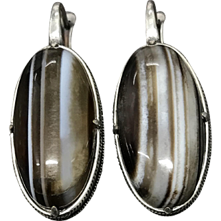 Large Vintage Sterling Silver Banded Agate Earrings