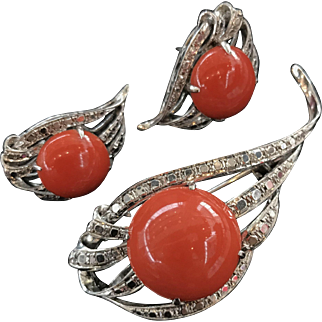Vintage 14K White Gold Red Coral Earrings Brooch Pin Pendant Set