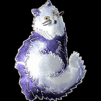 Vantage Enamel Sterling Silver Cat Pin Brooch