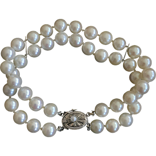 Vintage Genuine Round Cultured Cream White South Sea Pearls Hand Knotted Double Strand Bracelet Silver Clasp