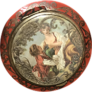 Vintage Art Nouveau French Red Celluloid Brass Scrollwork Powder Compact 1930s