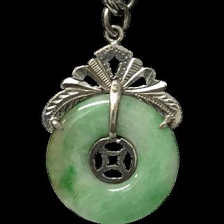 Vintage Chinese Natural Apple Green Jade/Jadeite Donut Sterling Silver Pendant