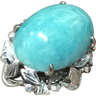 Vintage 18K White Gold Blue Amazonite Gemstone Ornate Ring Size 6.5