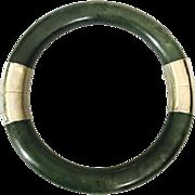 Vintage Chinese Nephrite Jade Bangle Bracelet with Gold-washed  Hinge