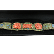 Antique Chinese Gilt Enamel Filigree Sterling Silver Carved Natural Salmon Coral Peony Flowers Bracelet with Safety Chain