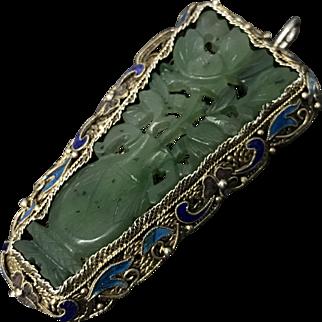 Vintage Chinese Gild Enamel Filigree Sterling Silver Hand Carved Nephrite Jade Flower Pendant