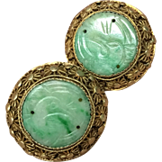 Antique Chinese Gilt Filigree Sterling Silver  Hand Carved Apple Green Jade/Jadeite Clip Earrings 1920's