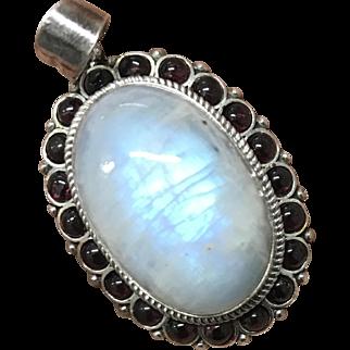 Vintage Large Moonstone with Garnet Sterling Silver Pendant