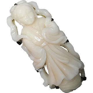 Vintage Chinese Hand Carved Angel Skin Coral Princess Figural Pendant Brooch