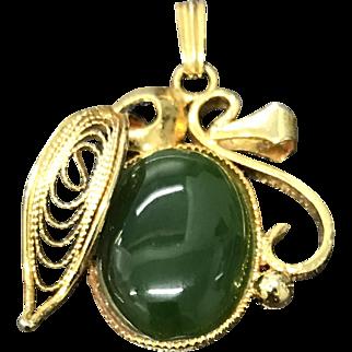 Vintage Filigree Gold Plate Green Nephrite Jade Pendant