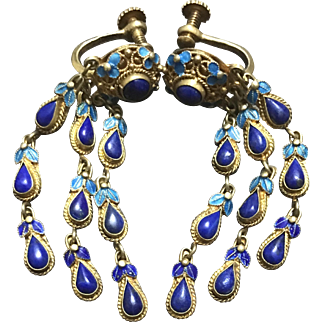 Vintage Chinese Gild Sterling Silver Filigree Enamel Lapis Lazuli Dongle Earrings