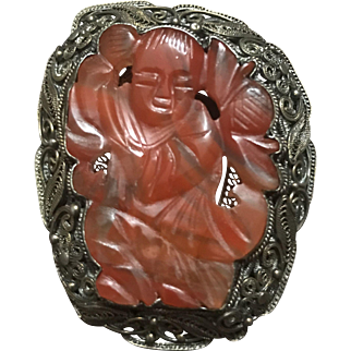 Vintage Chinese Large Gild Sterling Silver Filigree Hand Carved Red Agate Kid and Lotus Pin Brooch