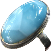 Beautiful Vintage Larimar Blue with Sterling Silver Ring Size 7.25