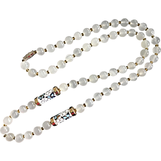 """Vintage Natural Clear white Agate Carnelian and Cloisonné Beaded Necklace 25"""""""