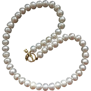 Vintage Natural Large White Freshwater Pearls  Necklace with Golden Colour Fancy Flower Clasp