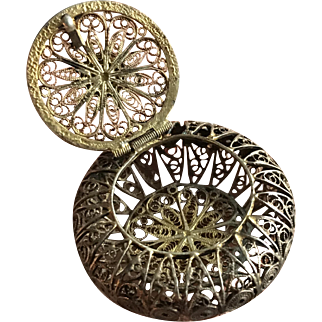 Antique Filigree Gild 800 Silver Lidded Spice Box ca. 1900