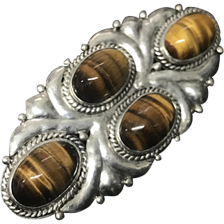 Vintage Sterling Silver with Natural Tiger Eye Gemstones Pin Brooch