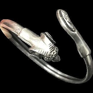 Unique Vintage Sterling Silver Markhor Goat Bypass Bangle Bracelet