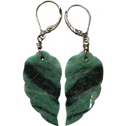 Vintage Sterling Silver Earrings with Dangling Double Side Hand Carved Natural Green Jade Leaves