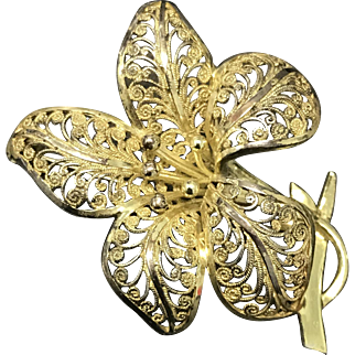 Vintage Gold Filled 835 Silver Filigree Lily Flower Pin Brooch