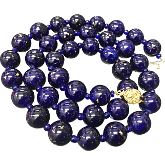 Vintage Chinese Export Cobalt Blue with Gold Spots Porcelain Beaded Necklace Gild Silver Filigree Clasp 25.5""