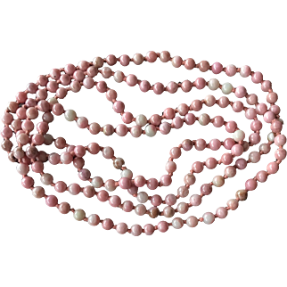 Beautiful Endless Opera Long Tiny Pink Rhodochrosite Beaded Necklace Hand Knotted 35""