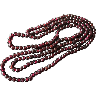 Beautiful Endless Opera Long Natural Tiny Red Garnet Beaded Necklace 34""