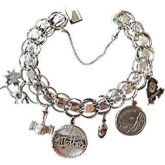 Sweet Sterling Silver Charm Bracelet with 7 Charms and Safety Chain