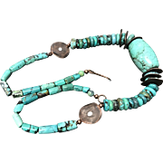 Vintage Tibetan Natural Blue Turquoise Beaded Necklace