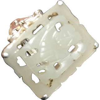 Vintage Chinese New Old Stock Silver Carved White Jade Spirit Adjustable Ring