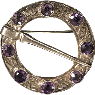 Victorian Scottish Sterling Silver and Amethyst Pin Brooch