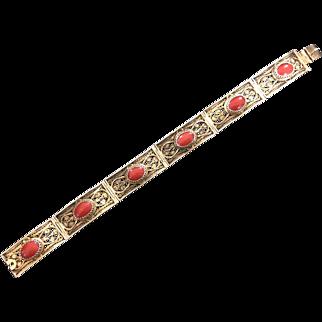 Amazing vintage Gilt 800 Silver Filigree Coral Bracelet