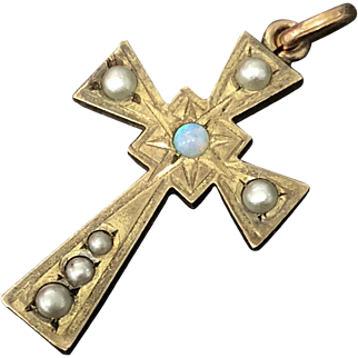 Vintage 10K Yellow Gold Natural Opal Pearls with Brass Cross Pendant