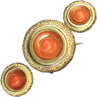 Victorian Yellow Gold Filled Coral Brooch Pendant and Earrings Set