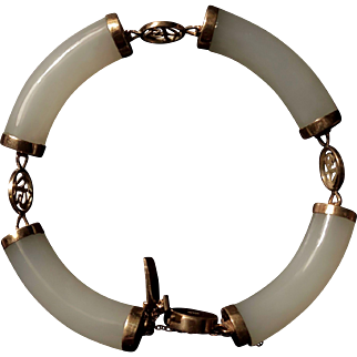 Gorgeous Vintage Chinese White Jade Carved Link 10K Gold Round Section Bracelet