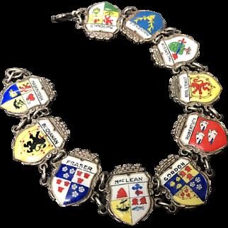 Germany Sterling Silver Enamel Tourist Travel Bracelet ~ 10 Cities Badges