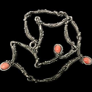 Vintage customer Made Angel Skin Coral Pewter Choke Necklace