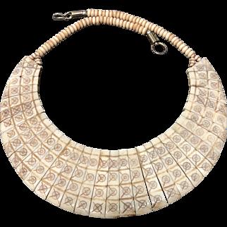 Vintage Hand Carved Bovine Bone Necklace