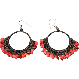 Vintage Woven Red Coral Sterling Silver Earring