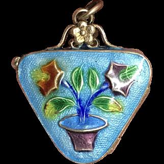 Vintage Gild Sterling Silver Enamel Flower Triangle Box Locket Pendant