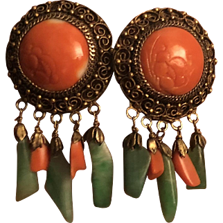 Antique Chinese Hand Carved Salmon Coral Gilt Silver Filigree with Natural Green Jade and Coral Dangle Earrings