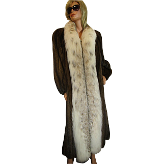 Vintage Russian SABLE & Eurasian LYNX Fur Coat Full Length No Monogram PRISTINE L-XL