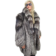 MAX ZELLER Silver FOX Fur Coat Stroller Large XL