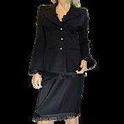 Vintage ESCADA 2-piece Black Blazer & Skirt Lace Ruffles RHINESTONE Buttons Size 36 or US 6