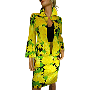 Vintage ESCADA COUTURE 2-Piece Outfit Blazer & Skirt Quilted Flowers Yellow Green Black Size 34 USA 4
