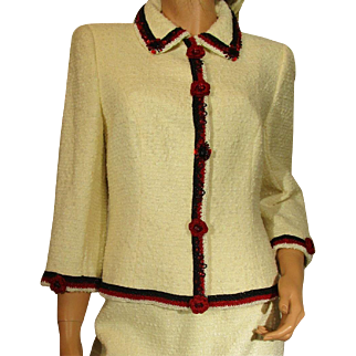 Vintage ESCADA Saks Jandel Blazer & Skirt Beaded and Embroidered Red Flowers White