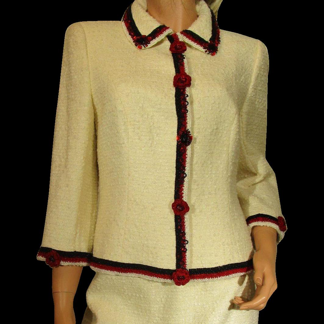 Vintage escada saks jandel blazer skirt beaded and
